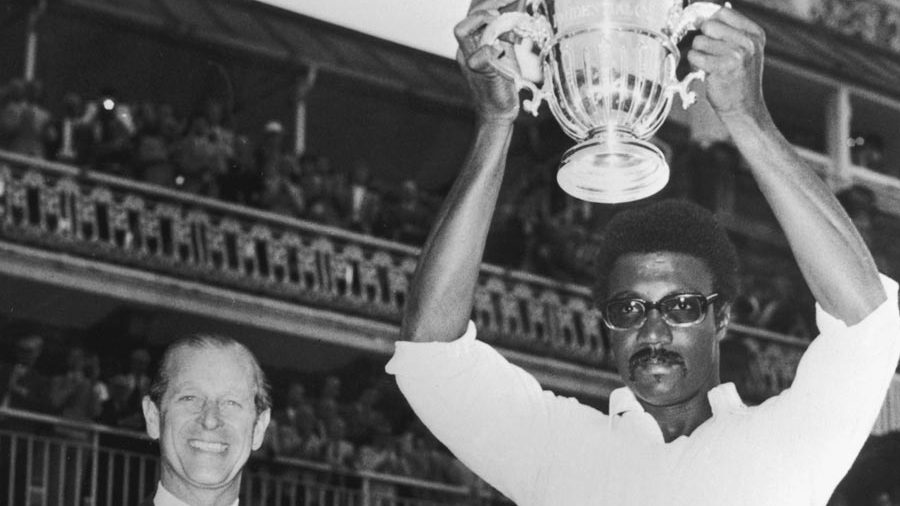Clive Lloyd holds the World Cup after West Indies win in 1975