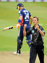 Michael Mason celebrates the wicket of Kevin Pietersen, England v New Zealand, 2nd ODI, Edgbaston, June 18, 2008
