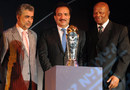 Nasim Ashraf, the PCB chairman, Rehman Malik, advisor to the Pakistan prime minister on Interior, and Ray Mali, the ICC president, after unveiling the Champions Trophy, Lahore, June 18, 2008