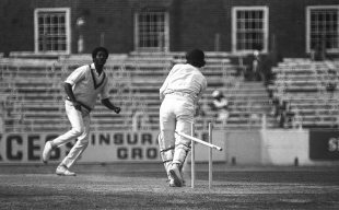 Allan Knott's middle stump goes flying; Knott was one of the six Michael Holding bowled at The Oval