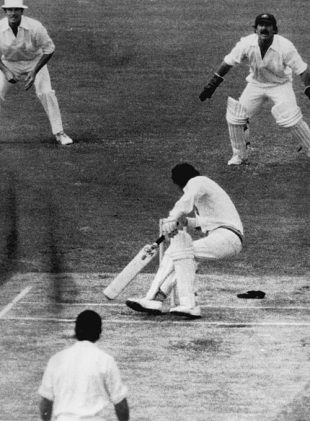 Derek Randall gets hit by a bouncer from Dennis Lillee during the Centenary Test, MCG, March 1977