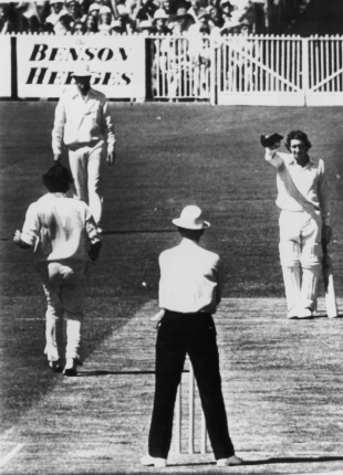 Doffing his cap to Dennis Lillee in the Centenary Test in 1977