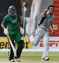 Zahid Shah celebrates Nazimuddin's wicket, Bangladesh v UAE, Group A, Lahore, June 24, 2008