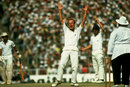 Derek Underwood appeals for a lbw against Sunil Gavaskar, India v England, third Test, Delhi, 1981