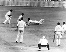 Arthur Morris is caught by Trevor Bailey off  Alec Bedser , Australia v England, 1st Test, Brisbane, December 4, 1950