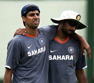 Ashish Nehra and Harbhajan Singh at the National Cricket Academy camp, Bangalore, June 28, 2008