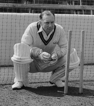 Arthur McIntyre in the nets at The Oval, May 16, 1956