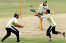Misbah-ul-Haq and Younis Khan do some slip-catching, Karachi, July 1, 2008