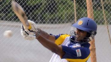 Jehan Mubarak pulls the ball during a practice session