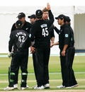 Jacob Oram and his team-mates celebrate a wicket, Scotland v New Zealand, Tri-series, Aberdeen, July 3, 2008