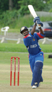 Rodney Trott on the attack during his 48*, Canada v Bermuda, King City, June 29, 2008
