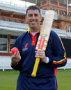 Darren Bicknell poses with the new MCC-pioneered pink ball, April 2008