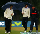 Umpires Steve Garratt and Michael Gough inspect the pitch with the groundsmen, Middlesex v South Africans, Tour match, Uxbridge, July 6, 2008