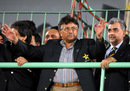 Pakistan President Pervez Musharraf waves to the crowd as Nasim Ashraf looks on, India v Sri Lanka, Asia Cup final, Karachi, July 6, 2008