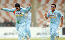 Pragyan Ojha and Rohit Sharma celebrate a wicket, India v Sri Lanka, Super Four, Asia Cup, Karachi, July 3, 2008