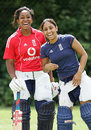 Ebony Rainford-Brent and Isa Guha share a joke during a training session, Loughborough, July 10, 2008