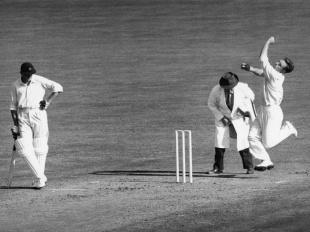 Ray Lindwall in his delivery stride, England v Australia, 5th Test, The Oval, 2nd day, August 17, 1953