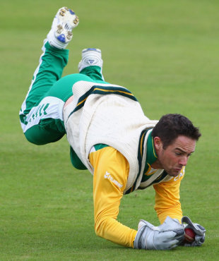 Mark Boucher dives for a catch during fielding practice ahead of the second Test, Headingley, July 16, 2008