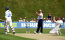 Jeff Evans raises his finger as David Balcombe celebrates running out non-striker Michael Yardy of Sussex after deflecting a full blooded drive from Chris Nash onto the stumps, Sussex v Hampshire, Arundel, July 16, 2008