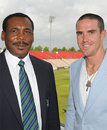Gordon Greenidge and Kevin Pietersen at the launch of the Stanford Super Series, Rose Bowl, July 25, 2008