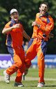 Peter Borren and Pieter Seelaar celebrate another wicket during Netherlands' victory over Kenya