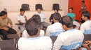 Mohammad Rafique speaks to Bangladesh's National Cricket Academy players, Mirpur, August 2, 2008