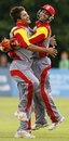 Harvir Baidwan and Ashish Bagai celebrate another Netherlands wicket, Canada v Netherlands, ICC World Twenty20 Qualifier, Belfast, August 2, 2008
