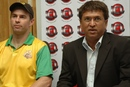 Jock Campbell, the ICL's high performance director, and Kiran More address a press conference, August 2, 2008