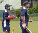 Robin Singh issues instructions as Parthiv Patel looks on, Colombo, August 14, 2008