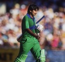 Javed Miandad walks off after being stumped off Laxman Sivaramakrishnan, India v Pakistan, Word Championship of Cricket final, Melbourne, March 10, 1985
