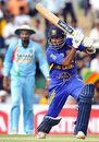 Mahela Jayawardene drives during his half-century, Sri Lanka v India, 1st ODI, Dambulla, August 18, 2008