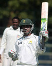Ali Asad acknowledges applause for his century, Zimbabwe Board XI v Pakistan National Cricket Academy, Harare, August 24, 2008