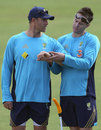 Matthew Hayden continues his rehabilitation from an Achilles problem with Stuart Karppinen, the fitness and conditioning coach, at Australia's camp in Brisbane August 26, 2008