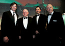 Hugh Jackman, Neil Harvey, Ricky Ponting and Sam Loxton pose for the cameras ahead of the dinner to commemorate Don Bradman's birth centenary, Sydney, August 27, 2008