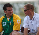 Graeme Smith chats to Shaun Pollock ahead of the fourth ODI against England at Lord's