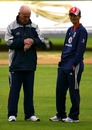 Jack Birkenshaw and Charlotte Edwards inspect the conditions, England v India, 4th women's ODI, Arundel, September 7, 2008