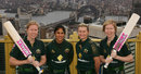 Alex Blackwell, Lisa Sthalekar, Leah Poulton and Kate Blackwell mark the six-month countdown to Australia's defence of the World Cup