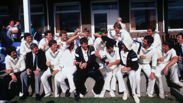 New Zealand celebrate their first Test win in England