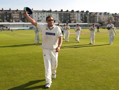 Darren Gough waves farewell to the home crowd at the end of his final first-class match