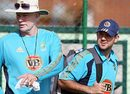 Greg Chappell and Ricky Ponting arrive for the nets session
