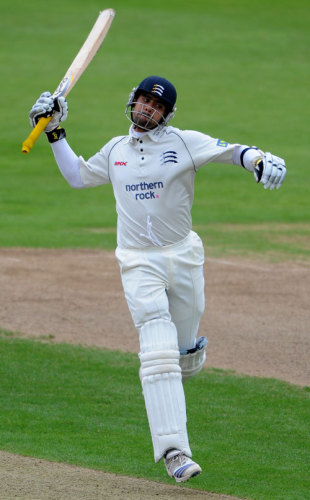 Owais Shah jumps in the air as he reaches his hundred, Northamptonshire v Middlesex, Northampton, September 25, 2008