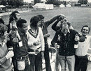 Norman Gifford gets a champagne shampoo after Worcestershire are confirmed as 1974 County Champions.  From left to right Glenn Turner, John Inchmore, Ron Headley, Jim Yardley, Brian Brain, Vanburn Holder (behind Gifford) and Alan Ormrod, Chelmsford, September 3, 1974