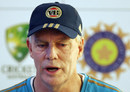 Greg Chappell addresses the media in Jaipur