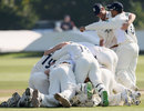 Durham celebrate victory ... and now wait for news from Trent Bridge