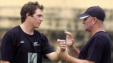 Tim Southee and Vaughn Johnson discuss a point