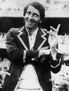 Derek Randall, the Man of the Match during the post-match presentation, enjoys a joke, Australia v England, Centenary Test, MCG, 22 March, 1977