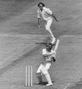 Frank Hayes hits a delivery from Richard Collinge, England v New Zealand, World Cup, Trent Bridge, June 11, 1975
