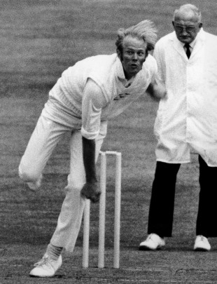 Tony Greig bowls for Sussex, July 16, 1975
