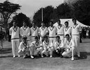 The Pakistan squad in England, 1962.  (Back) Saeed Ahmed, Mohammed Farooq, Imtiaz Ahmed, Javed Burki, Ali Muddin, Ijaz Butt, Hanif Mohammed and Masimul Ghan. (Front) Intikhab Alam, Wallis Mathias, Mushtaq Mohammed, A Ahmed and Munir Malik.