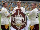 Martin Love, Ashley Noffke and Daniel Doran during the launch of the Sheffield Shield, Brisbane, October 9, 2008